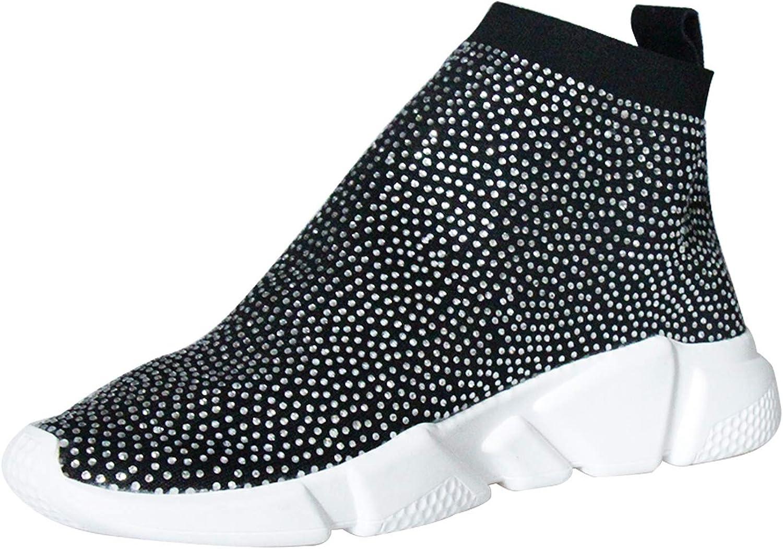 HEETIST Woherrar Round Toe Rhinestones Lättviktare gående gående gående Stretch skor Casual mode Flat skor  topp varumärke