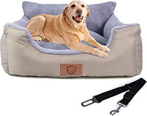 Dog Car Seat, Pet Travel Car Carrier Bed with Clip-On Safety Leash and Storage Pocket, Machine Washable Pet Booster Safety Seat, Perfect for Dog, Cat, and Any Pets Under 25 LB(Upgrade)