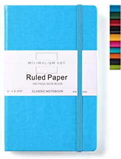 Minimalism Art, Classic Notebook Journal, A5 Size 5 X 8.3 inches, Blue, Ruled Lined Page, 192 Pages, Hard Cover, Fine PU Leather, Inner Pocket, Quality Paper-100gsm, Designed in San Francisco