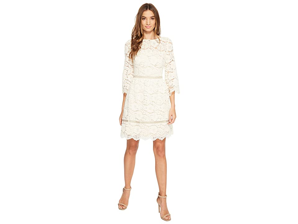 Vince Camuto Lace Elbow Sleeve Fit and Flare Dress (Ivory) Women