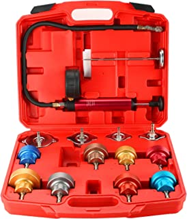 DASBET Radiator Pressure Leakage Tester Tool Kit, 14PCS Automotive Cooling System Water Tank Leak Test Detector Set with A...