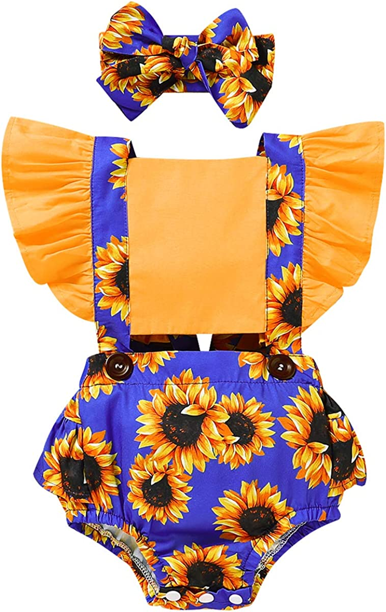 Ranking TOP1 A surprise price is realized Newborn Infant Baby Girls Sunflower Sleeve Ruffle Bodysui Romper