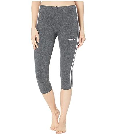 adidas Essential 3-Stripe 3/4 Tights (Dark Grey Heather/Purple Tint) Women