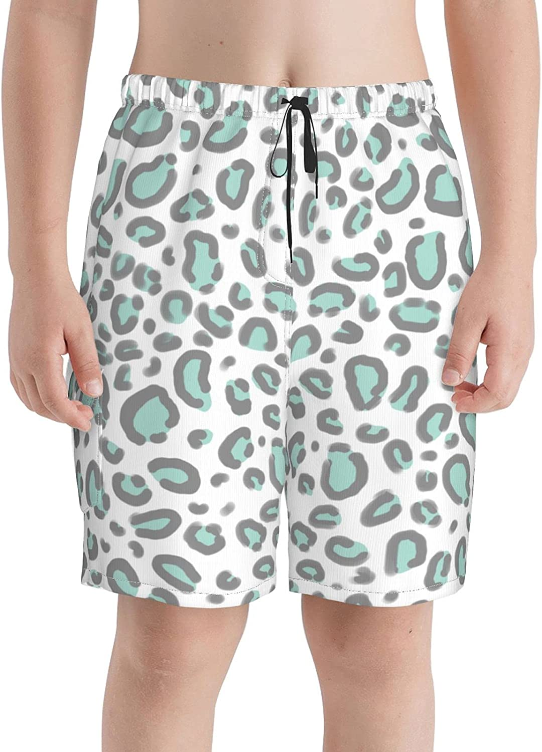 Daisy Circle Blue On Cream Boys Teens Swim Trunks Quick Dry Surfing Board Shorts with Mesh Lining
