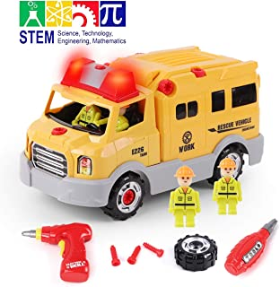 GILOBABY Take Apart Rescue Vehicle with 4 Figures, STEM Toys DIY Car with Drill Tool, Lights and Sounds, 31 Piece, Build Your Own Car for Kids, Gifts for Boys & Girls Age 3+