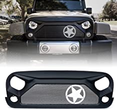 Xprite Front Grill Matte Black Gladiator Vader Grille with Star Steel Mesh for 2007-2018 Jeep Rubicon Sahara Sport JK JKU
