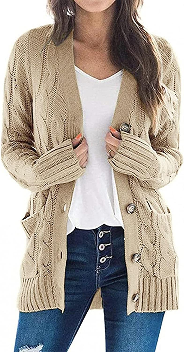 Aukbays Sweaters for Women Cardigan,Womens Cardigan Sweaters Long Sleeve Snap Button Down Open Front Knit Cardigan Coat Tunic
