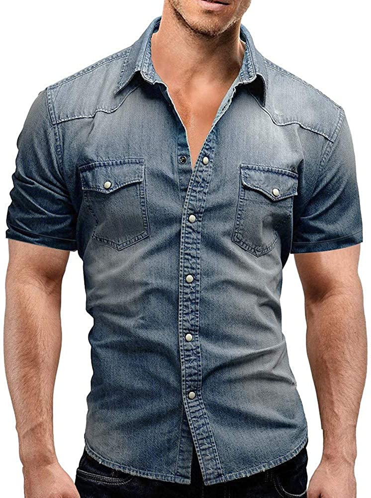 MODOQO Shirt for Men-Summer Casual Slimd Fit Button Short Sleeve Elastic Tees with Pocket