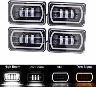 SKTYANTS 4X6 Led Headlight Off Road White Halo DRL Amber Turn signal Sealed H4651 H4656 H6545 H4668 replacement For chevy Kenworth Peterbilt Truck (4 pcs)