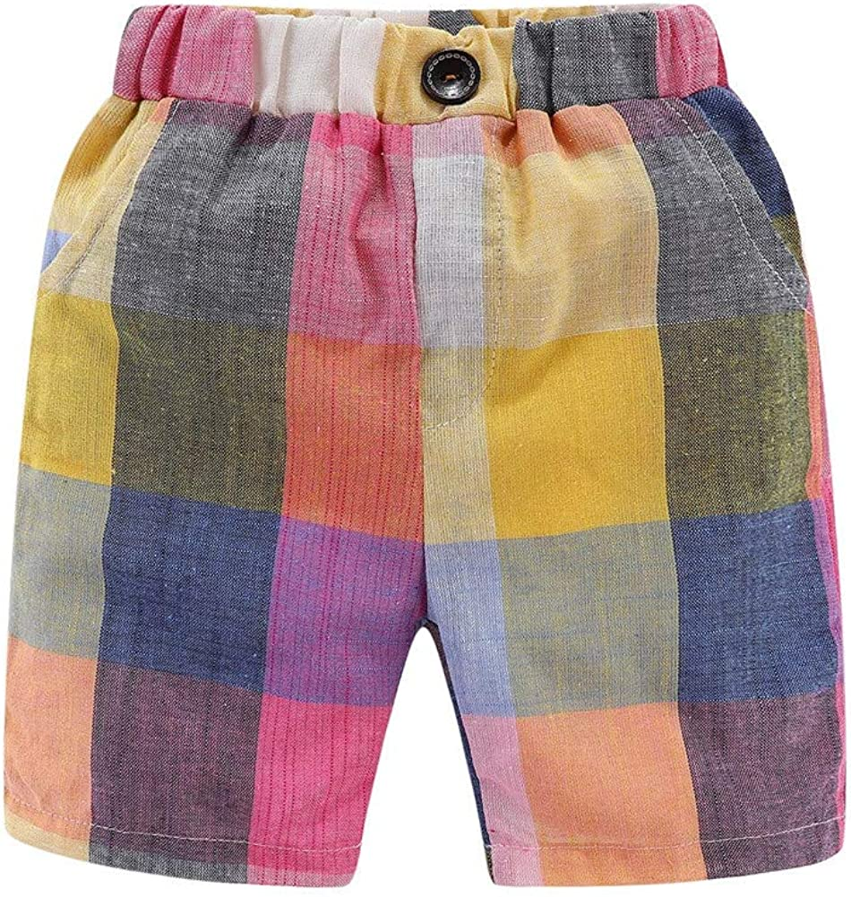 LittleSpring Little Toddler Boys Summer Shorts Gingham Colorful