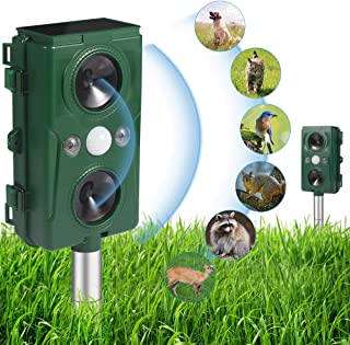 Ultrasonic Animal Repeller,Solar Powered and Waterproof PIR Sensor Repeller,Motion..