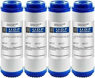 LZH FILTER Lot de 4 Filtre à Eau au Charbon Actif Granulaire UDF 5 microns pour eau potable, systèmes d'osmose inverse