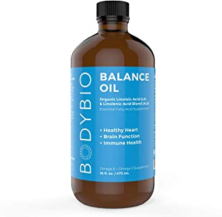 BodyBio Balance Oil - Essential Fatty Acids Omega 3 & 6 - Cold Pressed, Vegan, Organic Safflower and Flax Seed Oil Blend f...