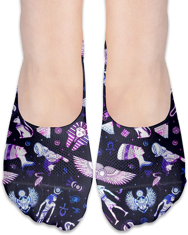 Tribal Ethnic Egypt Symbols Comfortable Boat Socks-Sweat Wicking Non-Slip Socks Leisure Sports Deodorant Foot Socks