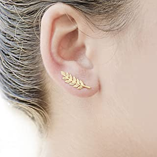 Hot Sales! Dfsdmlp Women Olive Leaf Ear Climbers Delicate Feather Crawler Cuff Stud Jacket Earrings