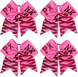 Milylove 7 Inches Large Breast Cancer Awareness Cheer Bows Baby Girls Hair Elastic Tie Ponytail Holder for Cheerleader Pack of 4