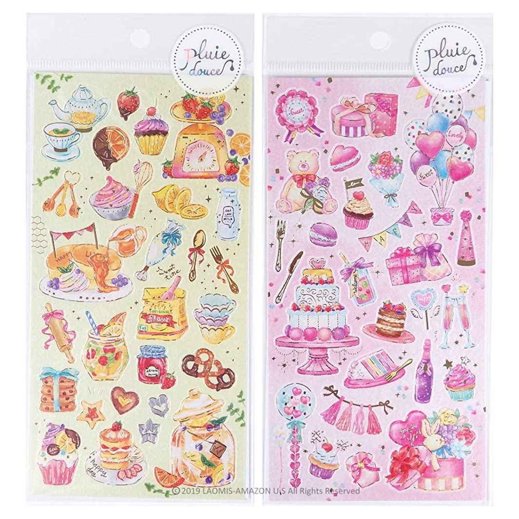 Mind Wave Japanese Pluie Douce Girly Watercolor Foil Stamping Stickers Sheets/Pack of 2 (Pink Party [ 79572 ] + Joyful Cooking [ 79574 ]) h871822051