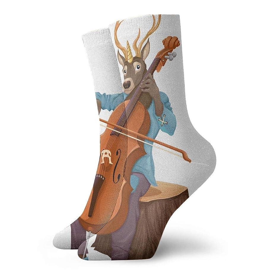 ゴールド教師の日ねばねばQrriyメンズおかしい音楽鹿はチェロソフトストレッチクリスマスホリデークールカジュアルドレスソックス、カジュアルクルースリッパソックス、各種デザイン
