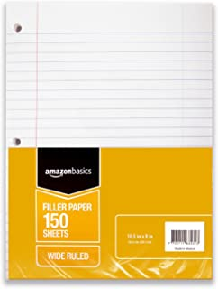 AmazonBasics Wide Ruled Loose Leaf Filler Paper, 150 Sheet, 10.5 x 8 Inch, 6-Pack