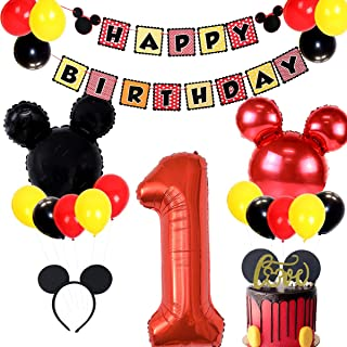 JOYMEMO Mickey Themed 1st Birthday Party Supplies Include Banner, Number 1 Foil Balloons and Ear Headbands