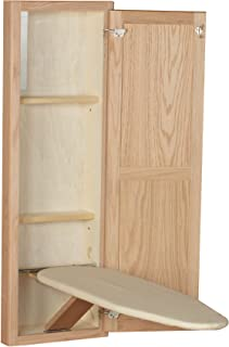 Household Essentials 18200-1 StowAway In-Wall Ironing Board Cabinet with Built In Ironing Board | Unfinished Oak | Cut into Wall to Install