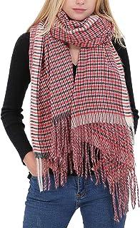 Comfy cashmere Scarf for Women Lightweight Winter Soft Long Plaid Shawl Pashminas
