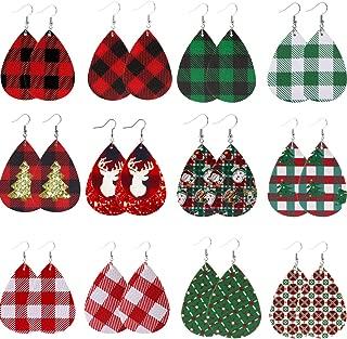 Christmas Plaid Earrings Plaid Leather Earrings Faux Leather Dangle Earrings for Women Girl Teardrop Earrings