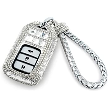 Silver Thor-Ind Bling Crystal Key Fob Cover Case Keychain for Honda Accord Civic CRV CR-V Pilot Odyssey