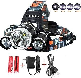 UVER Best Waterproof 10000 Lumen 3 Led Headlamp XML T6Head Lamp Powerful Led Headlight,18650 Rechargeable Batteries, Car C...