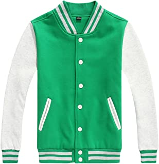 chouyatou Women/Men's Basic Color-Block Cotton Varsity Letterman Jacket