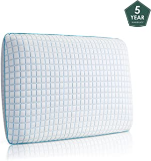 40D Neocloud® Cool Memory Foam Pillow Soft Neck Support Cooling Gel Hypoallergenic Dust Mite Resistant Orthopedic Ergonomic Pillow. (ICE Silk) (Dual Sided)