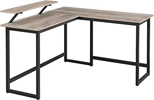 VASAGLE Computer Desk, 55-Inch L-Shaped Corner Desk with Monitor Stand, Study Writing Workstation for Home Office, Ga...