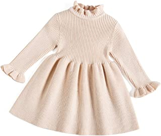 Little Girls' Long Sleeve Girl Dresses and Rompers Ribbed Knit Sweater Dress Black for 6M-5T