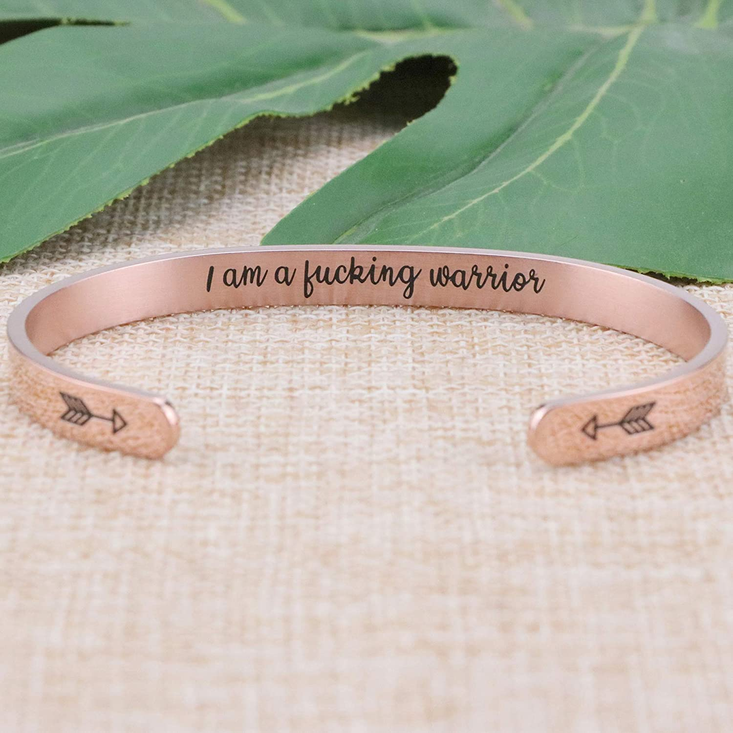 Inspirational Bracelets for Women Girls Rose Gold Cuff Jewelry Stainless Steel Gift for Her Friends