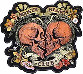 Broken Heart Club Skulls Novelty Embroidered Biker Jacket Patch - Iron on Backing or Sew On
