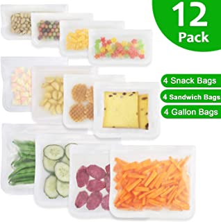 Reusable Sandwich Bags, Goowin 12 Pack Freezer Ziplock Bags (4 Reusable Snack Bags & 4 Reusable Sandwich Bags & 4 Reusable Gallon Bags) Extra Thick Leakproof Food Storage Bags for Home & Travel
