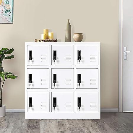 9 Door Steel Storage Locker,Office Cabinet Locker,Living Room and School Locker Organizer,Home Locker Organizer Storage for Kids,Bedroom Storage Cabinet with Doors and Lock (Full White)