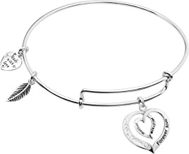 925 Sterling Silver Mother Daughter Forever Love Heart Charm Adjustable Wire Bangle