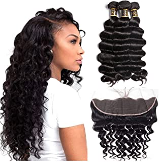 Ms Sunlight Brazilian Hair Loose Deep Wave Bundles with Frontal Closure 8A Virgin Hair Wet and