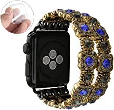 GEMEK Retro Bracelet Compatible with Apple Watch Band Black 38mm 40mm, Elastic Stretch Faux Crystal Agate Straps Replacement Compatible with iWatch Women Wristbands Series 5/4/3/2/1 Cuff (Blue)