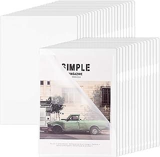 ZCZN 45 Pcs Chemises Plastique, A4 Pochette Porte Document Personnalisable de Couleur Transparent Plastique Chemise Trieur...