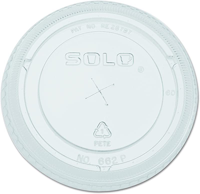 Solo Foodservice 662TS Pete Straw Slot Lid For 12 Oz Plastic Cold Cup Clear Case Of 10