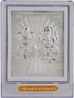 Msa Jewels 999 Pure Silver Plated Laxmi Ganesha Photo Frame for Exclusive Gifting for Diwali, Corporate Gift, Wedding Retu...