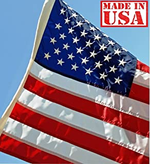 US Flag Factory - 2x3 FT US American Flag (Embroidered Stars & Sewn Stripes) Outdoor SolarMax Nylon Flag - Made in America - Premium Quality (2'x3')