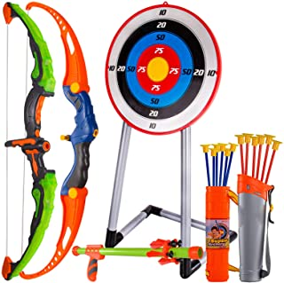CAPTAIN CHAOWING Bow and Arrow for Kids, Archery Toy Set, 2 Bows & 1 Blowing Bow & 12 Arrows & 5 Quivers & Standing Targe...