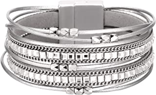Fesciory Women Multi-Layer Leather Wrap Bracelet Handmade Wristband Braided Rope Cuff Bangle with Magnetic Buckle Jewelry