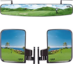10L0L 2019 Newest Wide Rear View Convex Golf Cart Mirror and Universal Folding Golf Cart Side View Mirrors Combo for EZ Go, Club Car, Yamaha