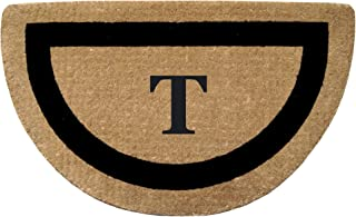 """Heavy Duty 22"""" x 36"""" Coco Mat, Black Single Picture Frame Monogrammed T, Half Round"""