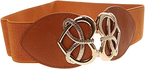 Ladies Women Stretch Elasticated Waist Belt Buckle Fashion Women Belt - camel, 61cm*6cm