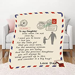 SORKUT Throw Blankets Gift for Daughter, Soft Bed Blanket to My Daughter, Custom Daughter Blanket Love Letter Adult Quilts...